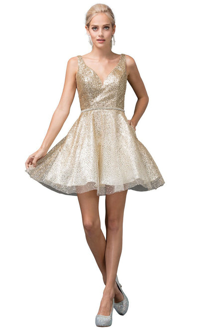 Dancing Queen - 3178 V Neck Sleeveless Glittered Short Dress In Gold