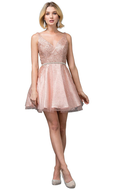 Dancing Queen - 3178 V Neck Sleeveless Glittered Short Dress In Pink and Gold