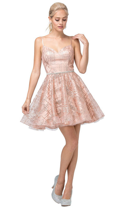 Dancing Queen - 3185 Spaghetti Strap Glitter Lattice A-Line Dress In Pink