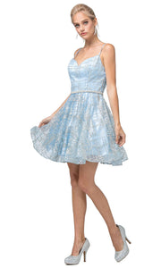 Dancing Queen - 3185 Spaghetti Strap Glitter Lattice A-Line Dress In Blue