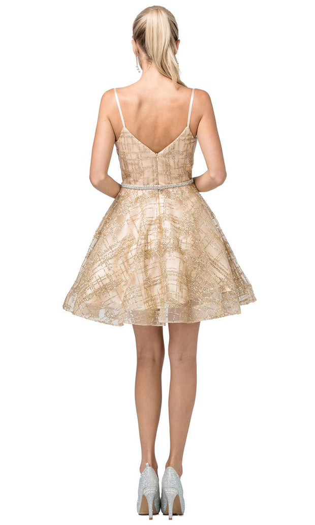 Dancing Queen - 3185 Spaghetti Strap Glitter Lattice A-Line Dress In Champagne & Gold