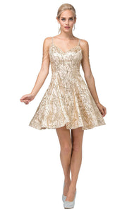 Dancing Queen - 3196 Fit And Flare Cocktail Dress In Gold