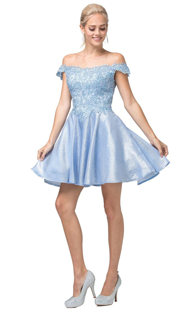 Dancing Queen - 3203 Embroidered Off Shoulder A-Line Short Dress In Blue