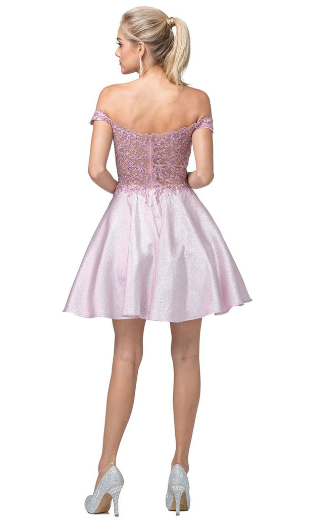 Dancing Queen - 3203 Embroidered Off Shoulder A-Line Short Dress In Pink