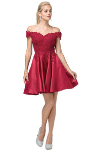 Dancing Queen - 3213 Off-Shoulder Lace Bodice Satin A-Line Dress In Burgundy