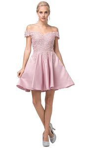 Dancing Queen - 3213 Off-Shoulder Lace Bodice Satin A-Line Dress In Pink