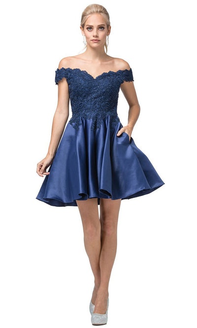 Dancing Queen - 3213 Off-Shoulder Lace Bodice Satin A-Line Dress In Blue
