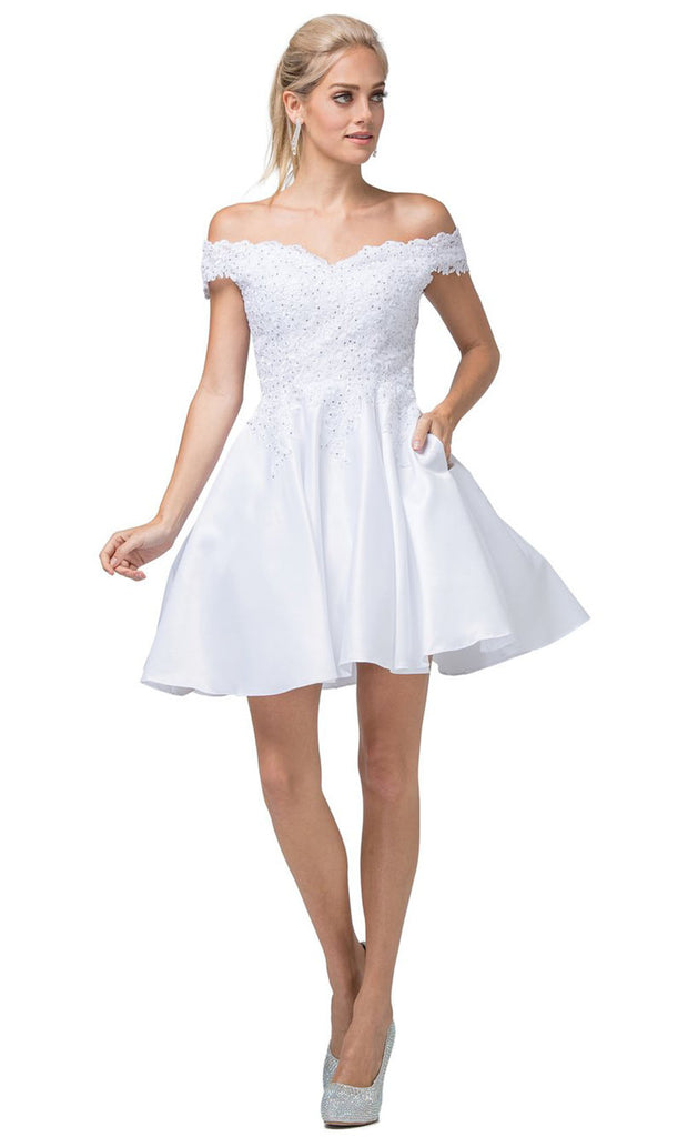 Dancing Queen - 3213 Off-Shoulder Lace Bodice Satin A-Line Dress In White & Ivory