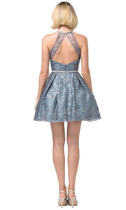 Dancing Queen - 3224 Illusion Halter Glitter Print A-Line Dress In Blue