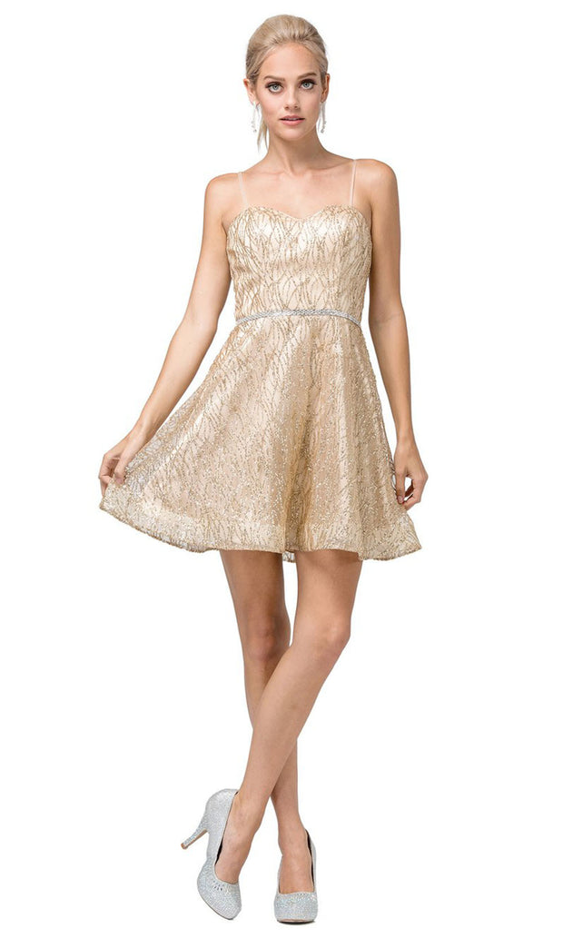 Dancing Queen - 3229 Sweetheart Glittery Cocktail Dress In Gold