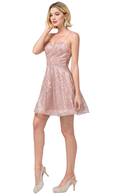 Dancing Queen - 3229 Sweetheart Glittery Cocktail Dress In Pink and Gold