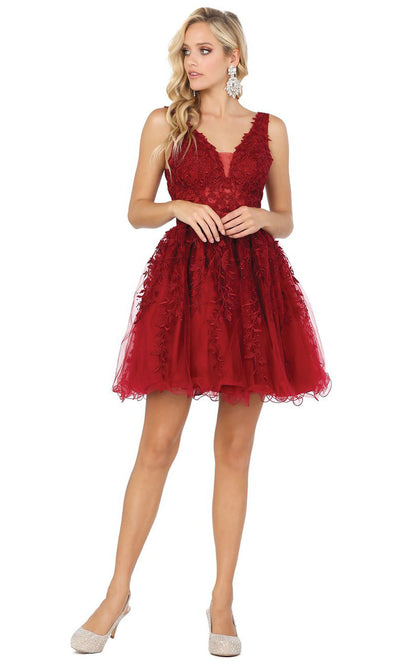 Dancing Queen - 3233 3D Floral Appliques A-Line Cocktail Dress In Burgundy