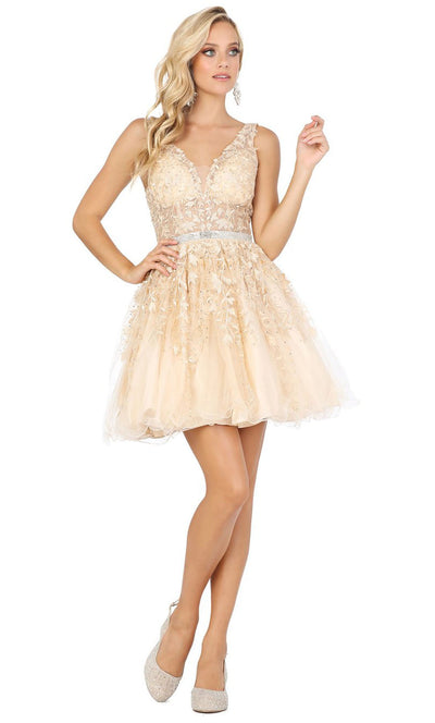 Dancing Queen - 3233 3D Floral Appliques A-Line Cocktail Dress In Champagne & Gold