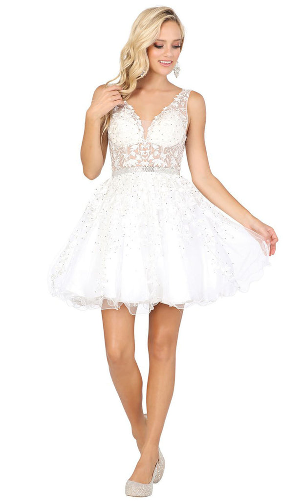 Dancing Queen - 3233 3D Floral Appliques A-Line Cocktail Dress In White & Ivory