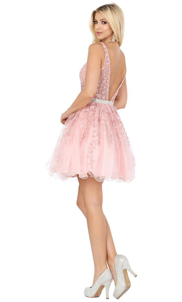 Dancing Queen - 3233 3D Floral Appliques A-Line Cocktail Dress In Pink