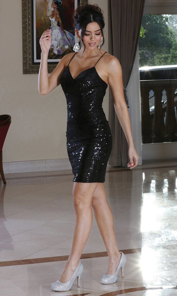 Dancing Queen - 3239 V Neck Sexy Sequined Sheath Dress In Black