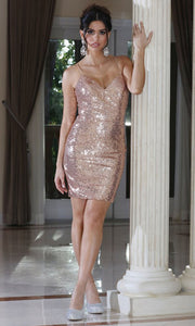 Dancing Queen - 3239 V Neck Sexy Sequined Sheath Dress In Pink and Gold