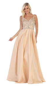May Queen - MQ1632 Beaded V-Neck A-Line Gown In Champagne