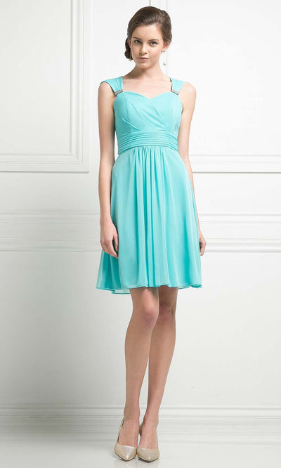 Cinderella Divine - 3832 Back Cut Out Short Dress In Blue and Green