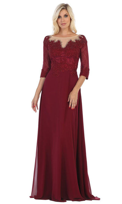 May Queen - MQ1617 Beaded Lace A-Line Gown In Red