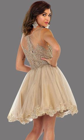 Back of short high neck champagn grade 8 grad puffy dress with gold lace. This light gold grade 8 graduation dress is pretty. Can be worn as quinceanera damas, short prom dress, bah mitzvah, sweet 16, confirmation. Avail in plus size
