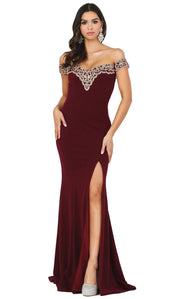 Dancing Queen - 4004 Lace Trim Off Shoulder High Slit Gown In Burgundy