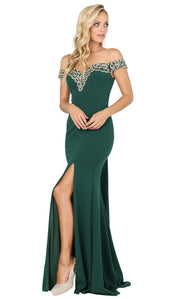 Dancing Queen - 4004 Lace Trim Off Shoulder High Slit Gown In Green