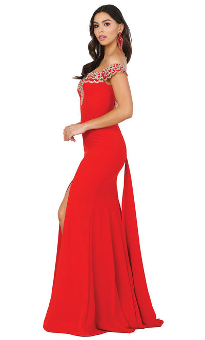 Dancing Queen - 4004 Lace Trim Off Shoulder High Slit Gown In Red