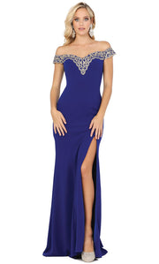 Dancing Queen - 4004 Lace Trim Off Shoulder High Slit Gown In Blue