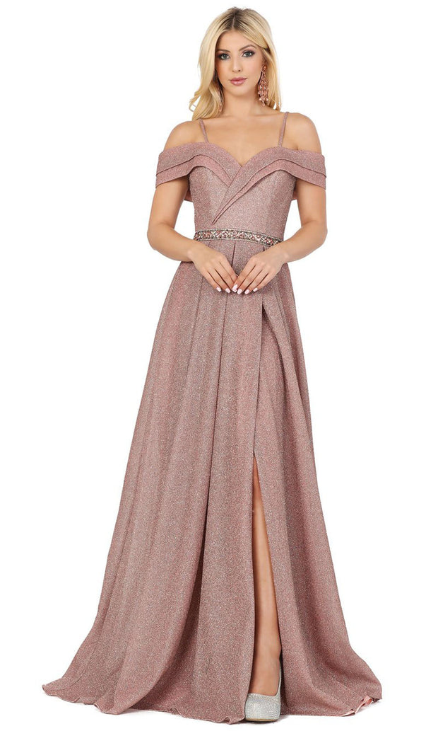 Dancing Queen - 4006 Off Shoulder Glitter High Slit Long Dress In Pink