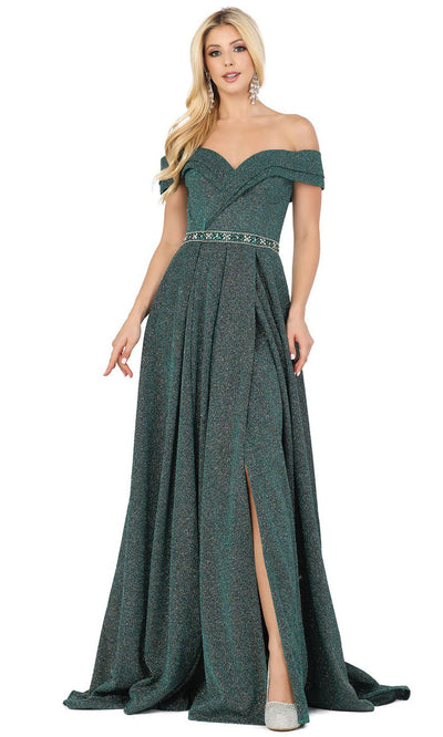 Dancing Queen - 4006 Off Shoulder Glitter High Slit Long Dress In Green