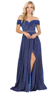Dancing Queen - 4006 Off Shoulder Glitter High Slit Long Dress In Blue