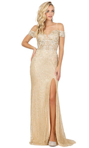 Dancing Queen - 4019 Off Shoulder Lace Bodice High Slit Dress In Champagne & Gold