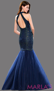 Back of Long navy mermaid dress with an open back and high neck. Bodice has sequin beading that flares out into a tulle skirt. Perfect for prom, wedding reception dress, formal party, engag