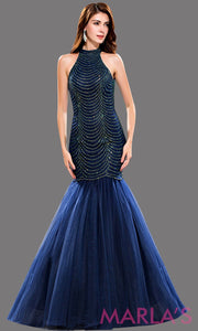 Long navy mermaid dress with an open back and high neck. The bodice sequin beading that flares out into a tulle skirt. Perfect for prom, wedding reception dress, formal party, engagement.