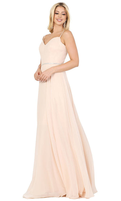 Dancing Queen - 4030 Sleeveless Sweetheart Neck Flowy A-Line Gown In Champagne & Gold
