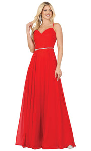 Dancing Queen - 4030 Sleeveless Sweetheart Neck Flowy A-Line Gown In Red