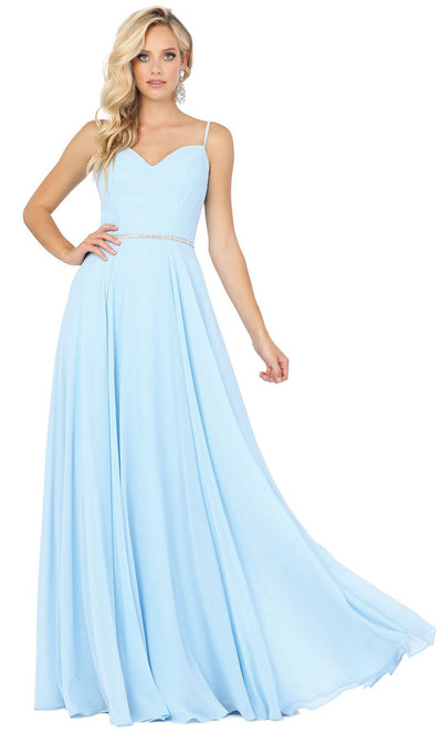 Dancing Queen - 4030 Sleeveless Sweetheart Neck Flowy A-Line Gown In Blue