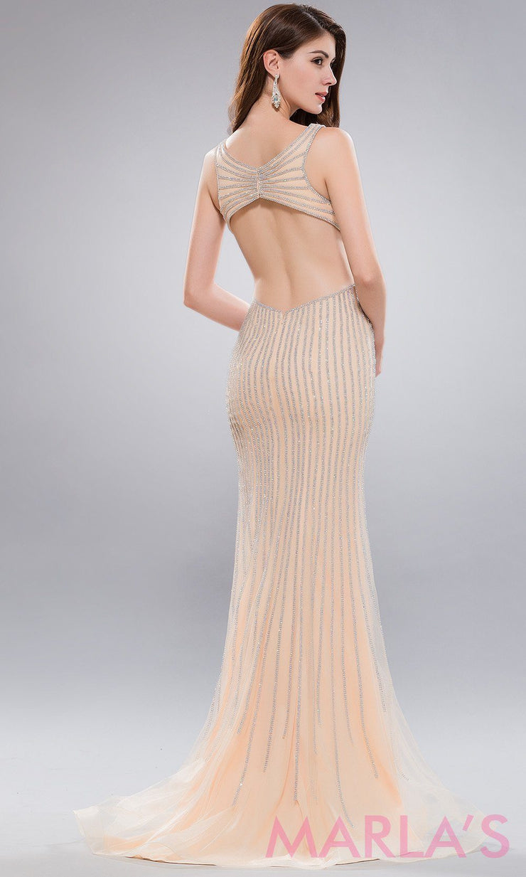 Back of Long gold sequin dress with open low back. This stunning beaded champagne full length evening dress is perfect for  prom,wedding engagement and reception dress, wedding gown, formal party,gala