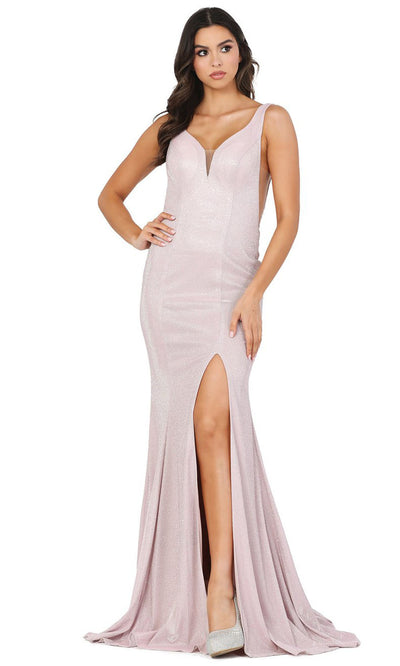 Dancing Queen - 4033 Deep V Neck Trumpet Dress With Train In Pink