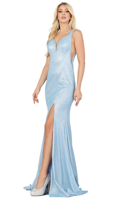 Dancing Queen - 4033 Deep V Neck Trumpet Dress With Train In Blue