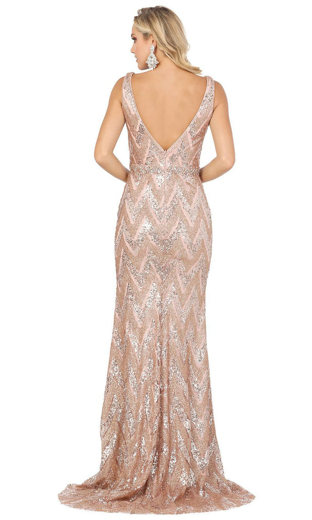 Dancing Queen - 4036 Glittered Zigzag Column Evening Gown In Pink and Gold