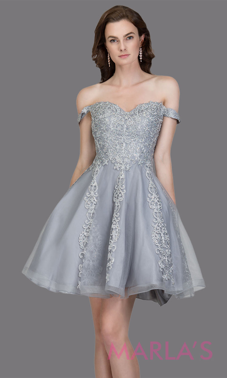 Short off shoulder tulle light gray grade 8 grad dress with contrast gold lace. This simple silver graduation dress is great as quinceanera damas, sweet 16 birthday, bat mitzvah, confirmation, junior bridesmaid,gray 8th grade. Plus sizes avail