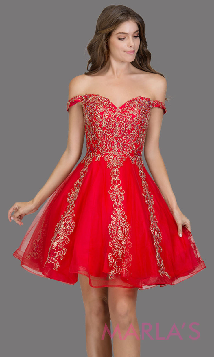 Short off shoulder tulle red grade 8 grad dress with contrast gold lace. This simple red graduation dress is great as quinceanera damas, sweet 16 birthday, bat mitzvah, confirmation, junior bridesmaid, red 8th grade. Plus sizes avail