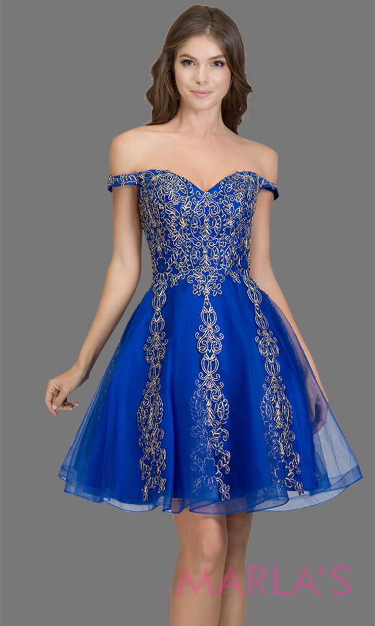 Short off shoulder tulle royal blue grade 8 grad dress with contrast gold lace. This simple royal blue graduation dress is great as quinceanera damas, sweet 16 birthday, bat mitzvah, confirmation, junior bridesmaid, 8th grade. Plus sizes avail