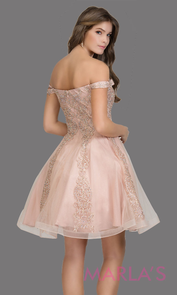 Back of Short off shoulder tulle blush pink grade 8 grad dress with contrast gold lace. This simple light pink graduation dress is great as quinceanera damas, sweet 16 birthday, bat mitzvah, confirmation, junior bridesmaid, 8th grade. Plus sizes avail