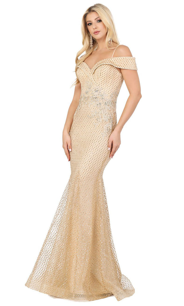 Dancing Queen - 4043 Off Shoulder Glitter Polka Dot Mermaid Dress In Champagne & Gold