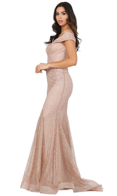 Dancing Queen - 4043 Off Shoulder Glitter Polka Dot Mermaid Dress In Pink