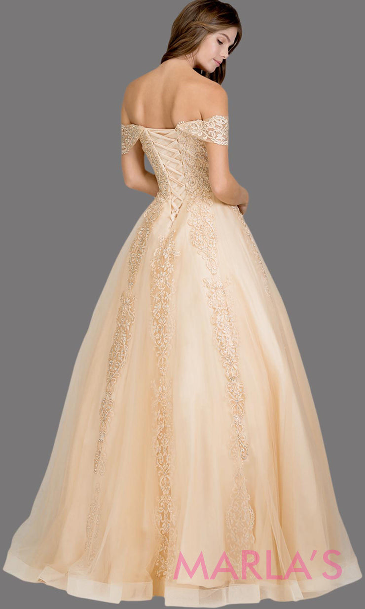 Back of Long champagne semi ball gown off shoulder lace evening gown. This light gold formal a line gown is perfect as a prom dress, wedding reception or engagement dress, indowestern formal party gown, sweet 16 dress, quinceanera.Plus Sizes avail
