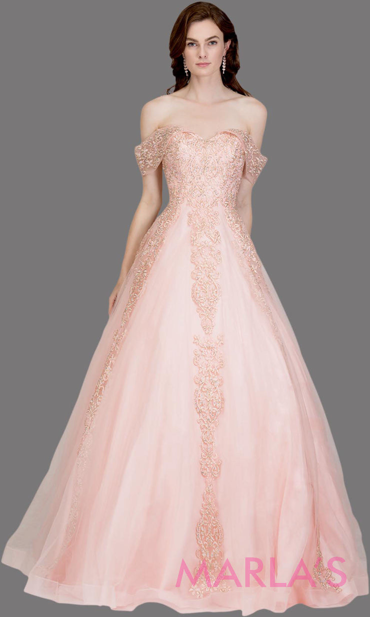 Long blush pink semi ball gown off shoulder lace evening gown. This light pink formal a line gown is perfect as a prom dress, wedding reception or engagement dress, indowestern formal party gown, sweet 16 dress, quinceanera.Plus Sizes avail